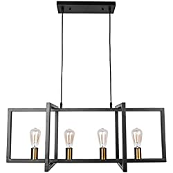 Lingkai 4-Light Kitchen Island Pendant Modern Industrial Chandelier Pendant Lighting Fixture Matte Black with Antique Brass Finish