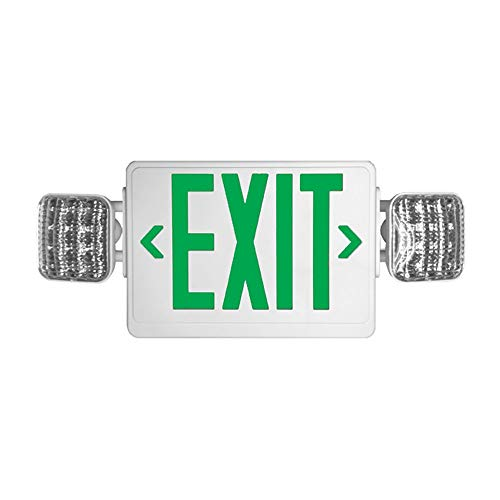 (LED exit illumination with reliable LED lamp heads (12 ultra-bright LEDS on each head) Durable thermoplastic, Includes two face plates, GREEN letter and WHITE body with Remote capability)