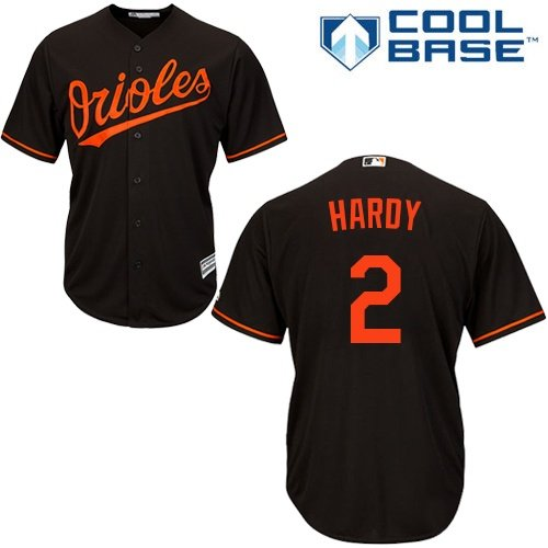 Majestic Athletic J.J. Hardy Baltimore Orioles #2 MLB Youth Cool Base Alternate Jersey Black (Youth Medium - Baltimore Series Player Orioles