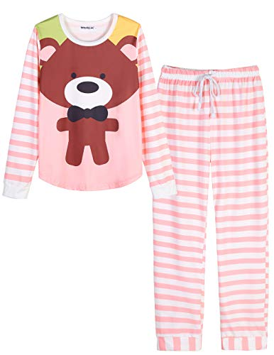 VENTELAN Women Long Sleeve Teddy Bear Round Neck Pajamas Set Striped Sleepwear B-Pink Teddy Bear S (USA Size:4-6)