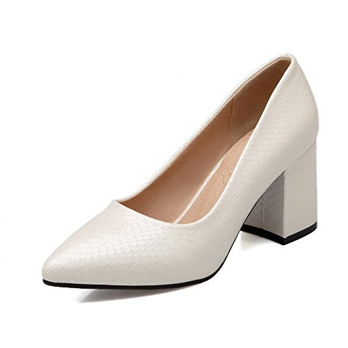 Shoes Solid WeenFashion On Pumps Toe Heels White Pointed Pull Pu Women's Closed Kitten wATAx1aP
