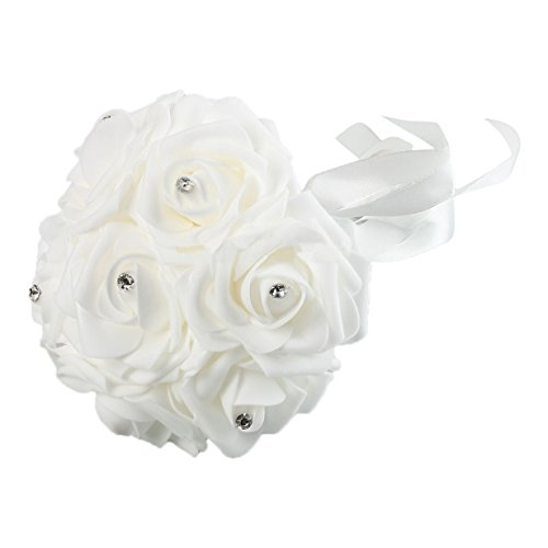 Bridal Flowers Bouquet - TOOGOO(R) Bridal Bride Bouquet 7 Pcs(A Bunch) Artificial Foam Rose Craft Flowers Bouquet Decor Wedding Party White