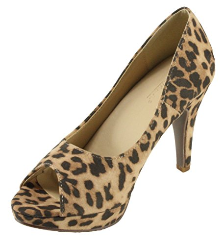 2 Peep Toe Pump - LovMark Women's Wildly-2 Faux Suede Peep Toe Platform High Heel Dress Pumps (10, Leopard)