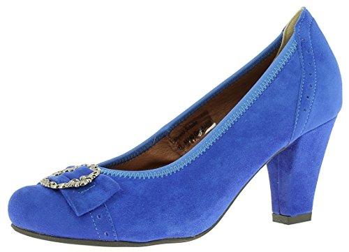 HIRSCHKOGEL Damen Pumps 3009226 Dirndlschuhe Trachtenschuhe Oktoberfest, Größe:41 EU, Farbe:Blau