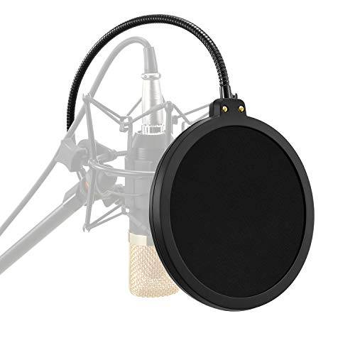 Moukey Microphone Mic Pop Filter For Blue Yeti with Clamp 6 inch Dual Layered Wind Pop Screen, Black