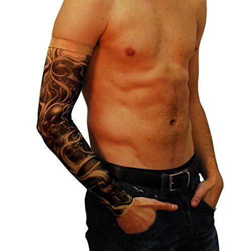 Wild Rose Unisex DEMONICA Single Tattoo Mesh Sleeve Blackwork Skull Devil Halloween, Tan, X-Small