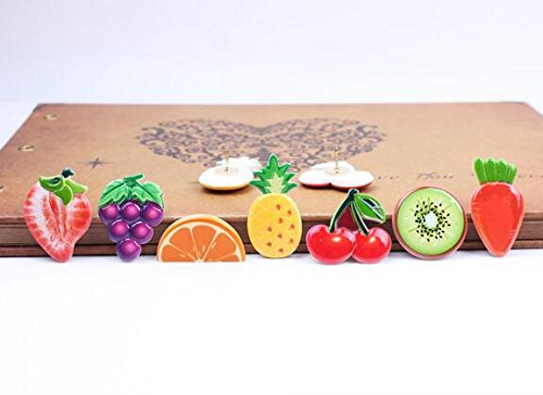 Home & Office Cork Board Photo Wall Holding Paper or Decorative/Colorful fruit and vegetable Series Pushpins/14 Piece/Random Color