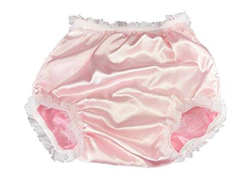 Haian ABDL PVC & Satin Panties Lace Panties (X-Large, Pink)