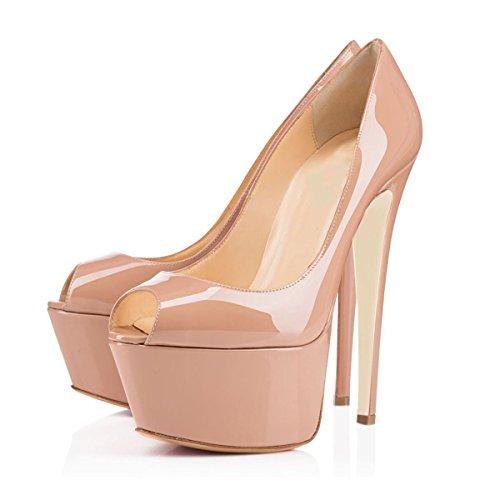 Arc-en-ciel bomba de charol zapatos de plataforma de las mujeres Nude