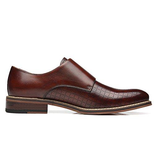 La Milano Men's Double Monk Strap Slip On Loafer Leather Oxford Plain Toe Classic Casual Comfortable Dress Shoes for Men