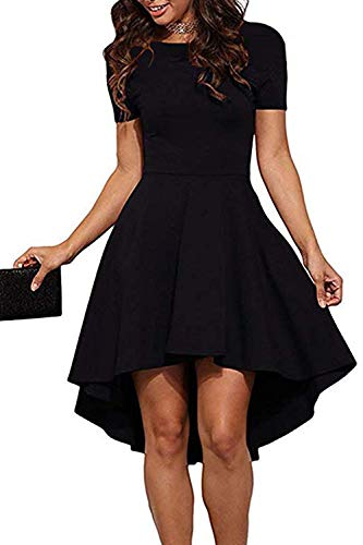 Genhoo Ladies Dinner Dresses High Low Hem Prom Wedding Cocktail Mini Dress Black L