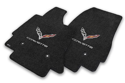 2014-2017 C7 Corvette Jet Black Floor Mats - Crossed Flags & Corvette Script (Corvette Crossed Flags)