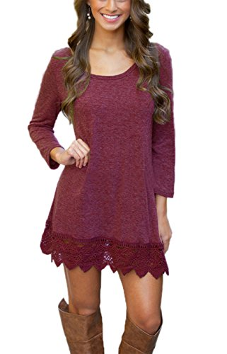 MiYang Women's Purple Long Sleeve A-line Lace Stitching Trim Casual Dress M