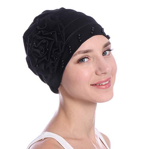Women Beading India Hat Muslim Ruffle Cancer Chemo Beanie Scarf Turban Wrap Cap Faux Pearl Beauty Casual Cap Black