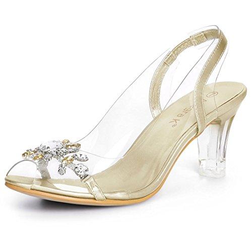 - Allegra K Women's Flower Rhinestone Peep Toe Heels Gold Sandals - 7 M US