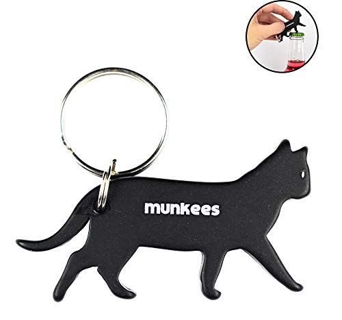 AceCamp Munkees Cat Bottle Opener Keychain, Mini Pet Kitten Can Opener Key Ring, Small Pocket Lightweight Kitty Beer & Wine Cap Opener for Men, Women, Bartenders, Waiters