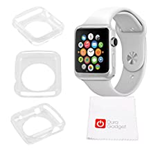 DURAGADGET Exclusive Apple Watch Case - Flexible, Protective & Lightweight TPU Case / Cover / Shell Custom Designed for NEW 2015 Apple Watch, Sport & Edition (42mm) - With BONUS Cleaning Cloth! (Clear TPU 42mm)