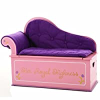 Wildkin Princess Fainting Couch with Storage, Features Removable Plush Cushions, Two Side Handles, and Pinch-Proof Safety Hinge, Perfect for The Little Princess in Your Life