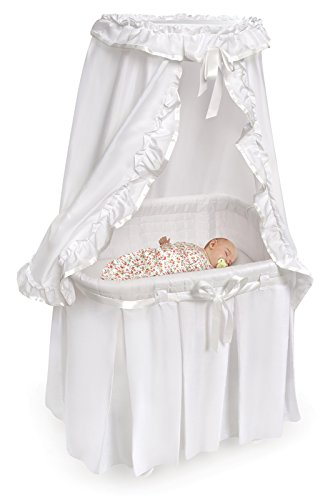 Badger Baskets 30060 Majesty Baby Bassinet with Canopy White Bedding,