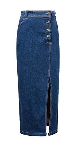 Tanming Women's Side Split Elastic Denim Hobble Skirt (Small, Dark Blue) (Skirt Split Denim)