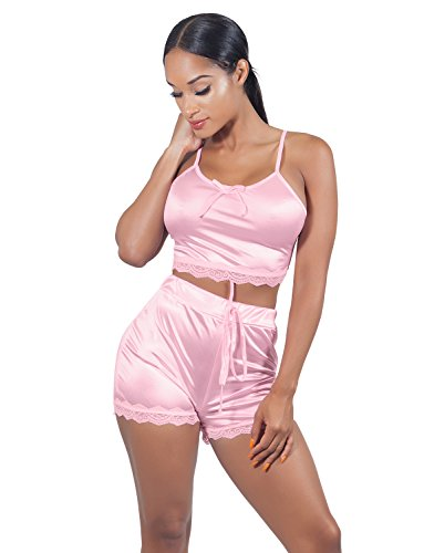 VWIWV Women Sleeveless Lace Crop Top Camisole and Shorts Pajamas Sleepwear Set, Pink, Size 4 - 6 (Pink Sets Pajamas Womens)
