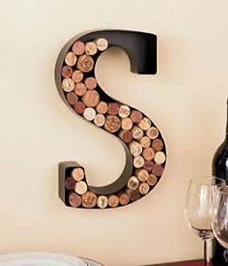 Monogram Letter S Wall Wine Cork Holder
