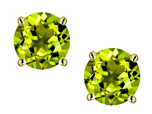 Star K Classic Round 7mm Genuine Peridot Four Prong Stud Earrings 10 kt Yellow Gold