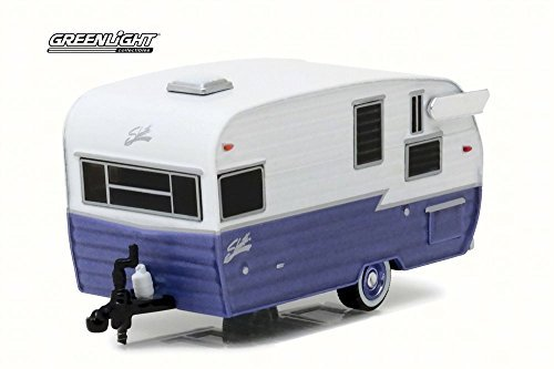 Greenlight Hitched Homes Series 1Shasta 15' Airflyte Travel Trailer, Purple 34010E - 1/64 Scale Diecast Model Toy Car