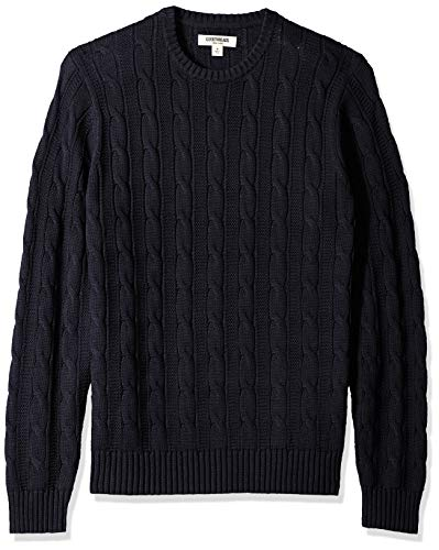 Goodthreads Men's Soft Cotton Cable Stitch Crewneck Sweater, Solid Navy, Small