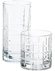 Anchor Hocking Manchester Small and Large Drinking Glasses, 16-Piece Glassware Set
