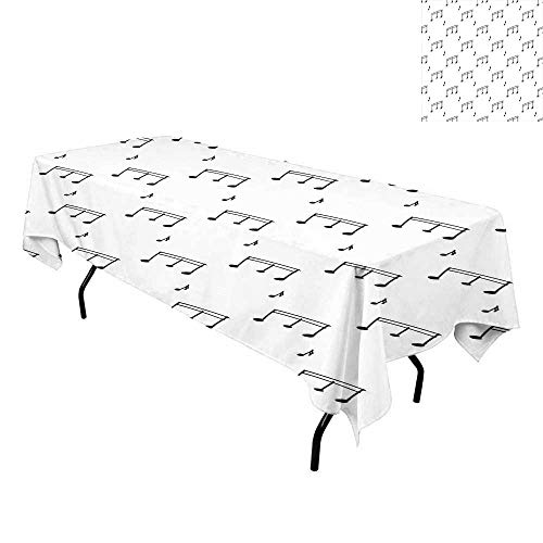 Music,Tablecloth for Kitchen Dining Tabletop,Musical Notes Theme Melody Sonata Singing Song Clef Tunes Hand Drawn Style Pattern,for Dining Room,W70 x L120 Inch Charcoal Grey]()
