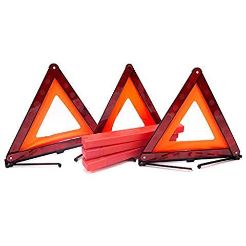 Fasmov Triple Warning Triangle Emergency Warning Triangle Reflector Safety Triangle Kit,3-Pack - Reflector Kit