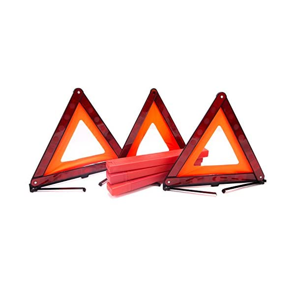 Fasmov Triple Warning Triangle Emergency Warning Triangle Reflector Safety Triangle Kit,3 Pack