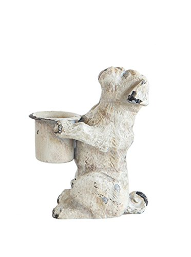 3.75 Inch Pewter and Metal Taper Dog Taper Holder, (Bulldog Candle Holder)