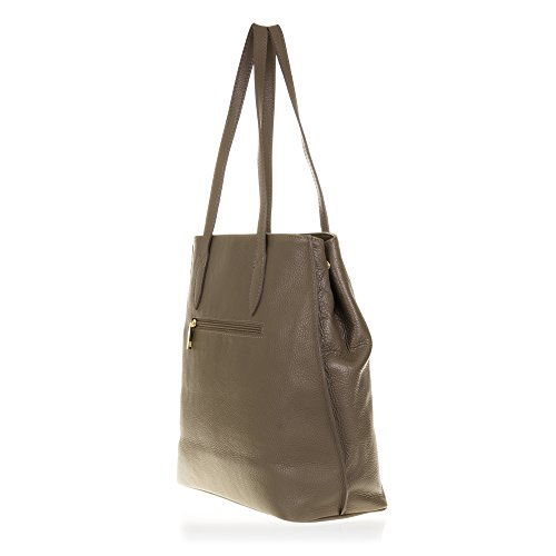 FIRENZE ARTEGIANI.Bolso shopping bag de mujer piel auténtica.Bolso mujer cuero genuino, piel acabdo Dollaro. MADE IN ITALY. VERA PELLE ITALIANA. 30,5x33x15 cm. Color: TAUPE