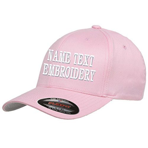 Custom Embroidery Hat Personalized Flexfit 6277 Text Embroidered Baseball Cap - Pink