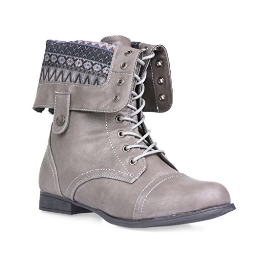 Twisted Women's Trooper Wide Calf Print Fold Over Military Boot - GREY MULTI, Size 10