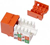 NTW CAT5E Slim HD 90D Orange Keystone Jack, Punch Down Terminal NJK/1H-KY-ORG