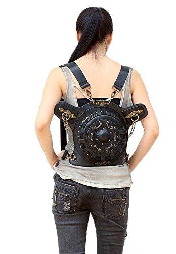 diseño fei Wei Redondos Mujer Bolsillos Black1 Retro única Talla Negro negro para Color cXn1nqd