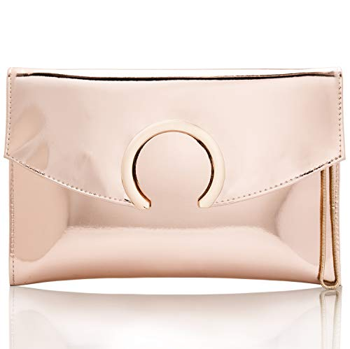 Womens Evening Bags Large Envelope Clutches Purse Metallic Patent Leather Wristlet Handbag (Rose Gold)