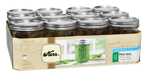 Kerr 518 Wide Mouth Jars with Lids and Bands, 16-Ounce, Set of 12 (Kerr Jar)
