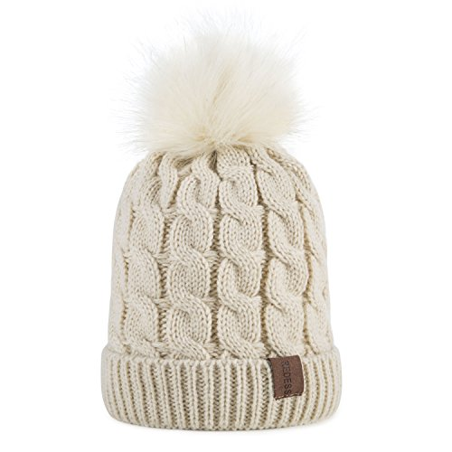 Kids Winter Warm Fleece Lined Hat, Baby Toddler Children's Beanie Pom Pom Knit Cap for Girls and Boys by REDESS (Cream White)