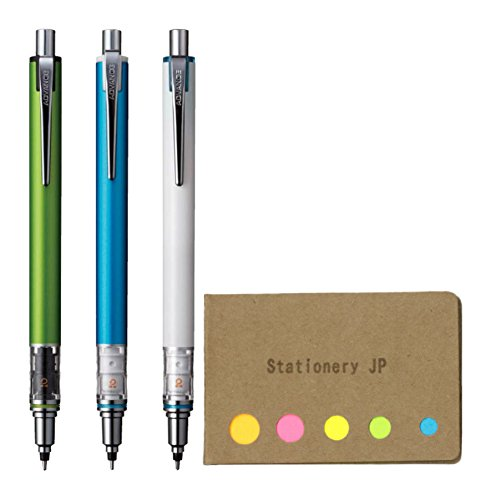 Auto Advance Mechanical Pencil - Uni Kuru Toga Advance Auto Lead Rotation Mechanical Pencil 0.5 mm, Body Color(Lime Green/Blue/White), 3-pack, Sticky Notes Value Set