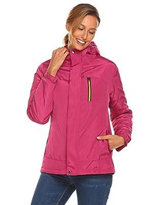 Declare Women's Hooded Outerwear Active Waterproof Lightweight Fleece Ski Raincoat Jacket (S-XXL)