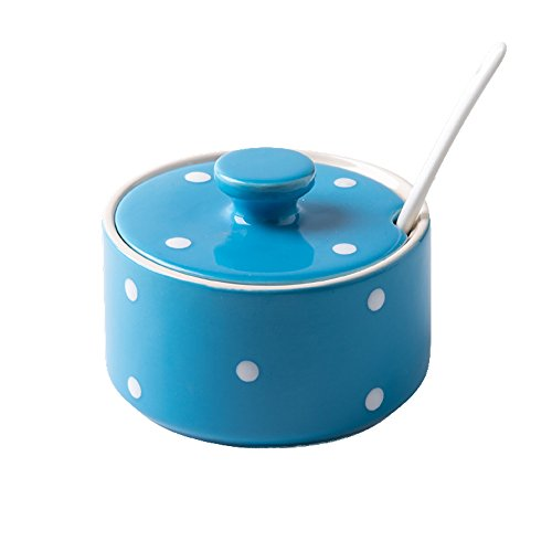 (Cute Polka Dot Multicolor Sugar Bowl Salt Spice Pot Pepper Storage Jar Seasoning Pot Container Condiment Box with Lid and Spoon for Home and Kitchen, 11 Oz, Blue)