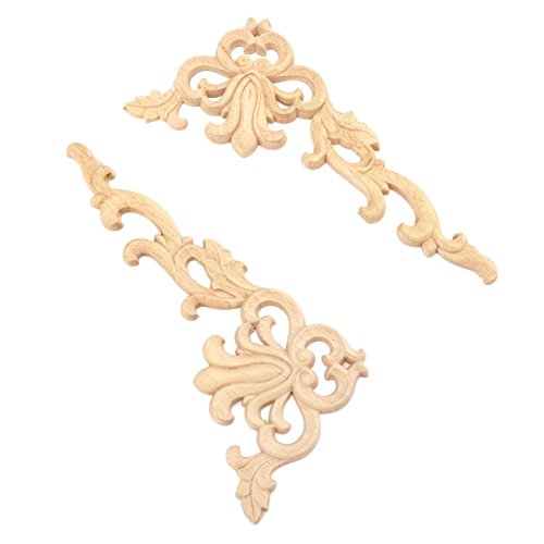 2pcs Right+Left(each 1pcs) European Style Wood Carved Corner Onlay Applique Door Decoration Unpainted