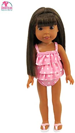 Brittanys My Pink Frill Swimsuit Compatible with Wellie Wisher Dolls//Hearts for Hearts Dolls//Glitter Girl Dolls