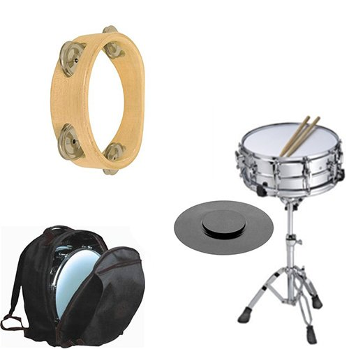 Band Directors Choice Complete Student Snare Drum Kit w/Stand, Backpack Carry Bag, Drum Practice Pad & Sticks + Bonus Tambourine