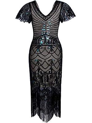 Vijiv Women's 1920s Flapper Dress with Sleeves V Neck Beaded Mermaid Art Deco Cocktail Dresses