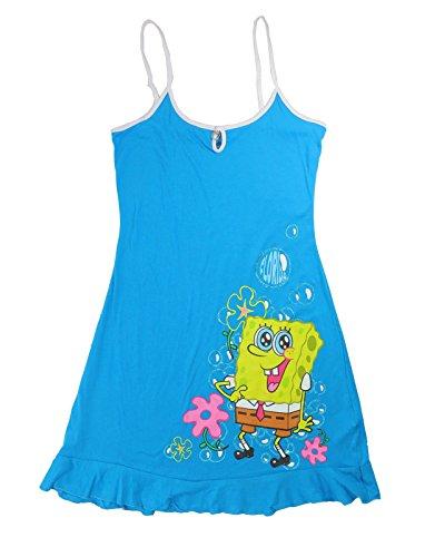 [Nickelodeon Women Pajama Dress Bubbles SpongeBob, Aqua (Large (11/13))] (Spongebob Dress)